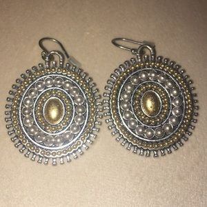Lucky Brand gold and silver medallion earrings